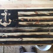 Handmade American Flags With Military Logos, Customizable, Reclaimed Wood Navy