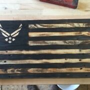 Handmade American Flags With Military Logos, Reclaimed Wood Air Force
