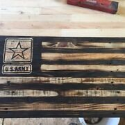 Handmade American Flags With Military Logos, Reclaimed Wood Army