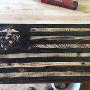 Handmade American Flags With Military Logos, Reclaimed Wood Marines