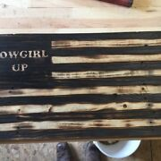 Handmade American Flags With Military Logos, Customizable, Reclaimed Wood