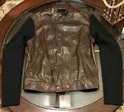 Black Label Leather And Wool Moto Jacket Sz Medium Brown And Navy Italy