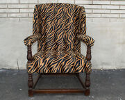 Oak English Victorian Living Room Arm Chair Antique Newly Upholstered And Restored