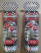 Lot Of 2 - Ihip Nascar Earbuds Ear Phones Stereo Mp3 Audio New Nib Ipod Iphone