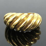 Vintage 18k Yellow Gold Hand Carved Stripe Dome Ring Size 5