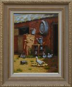 E.horsey Mother Duck Farm Scene Duck With Ducklings Oil On Board Signed