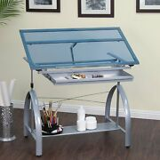 Drafting Craft Table Glass Top Art Desk Adjustable Blue Silver Heavy Duty Drawer