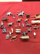 Lot Of Vintage Lead / Cast Toy Soldiers Figurines Wagons Horse Farmers Rare Lot