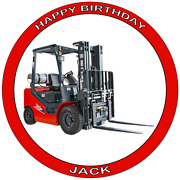 Forklift Truck 7.5 Premium Edible Icing Cake Topper Can Personalise Text D1