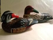 Beautiful Set Of 2 Hand Painted And Carved Wooden Decoy Ducks Preening With Head