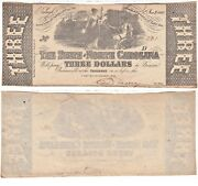 1863 3 The State Of North Carolina Raleigh Cr-125 Obsolete Currency Unc.