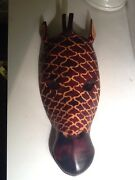 Beautiful Hand Carved And Painted African Giraffe Mask 17 Long X 8 W