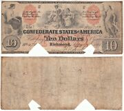 1861 10 Confederate States Note T-22 Cr-152 Indian Family Plate Letter C