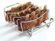 Large Rib Rack Smoker Bbq Barbecue Roast Support Grill Stainless Steel Holder