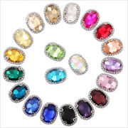 20 Pcs Sew On Crystal Rhinestone Diamond Faceted Glass Oval Jewels Button