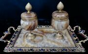 Vintage French Marble And Bronze Double Inkwell