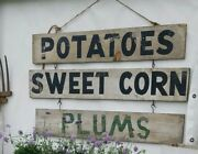Double Sided Antique American Produce Stand Advertising Trade Signandnbsp