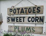 Double Sided Antique American Produce Stand Advertising Trade Sign