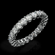 Diamond Band Ring Solitaire Round Eternity 14k White Gold 2.5 Ct Gil Certified
