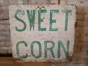Antique Produce Farm Stand Sweet Corn Trade Sign Advertising