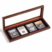 Certified Coin Slab Presentation Wood Box Case For 4 Ngc Pcgs Glass Lid Display