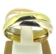 18k Yellow/white/rose Gold Tri-color 3mm Heavy Rolling Wedding Band Ring Size 10