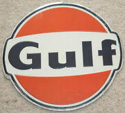 Gulf Oil Gas Sign New Vintage 1960and039s Look Advertising Gas Pump Sign