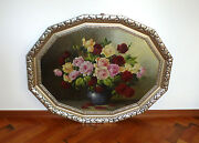 Xxl Flower Picture In Frame Vienna About 1900 Oil Painting Sign Rudolf Stoitzner