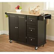 Rolling Kitchen Island Storage Utility Portable Cabinet Wood Top Cart Mobile