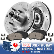 Front Drill And Slot Brake Rotors And Ceramic Pads For 00 - 04 Ford F150 2wd 5lug