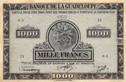Guadeloup / French 1000 Francs Nd.1942 P 26a Series S 2 Circulated Banknote