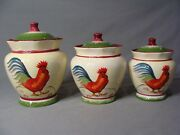3 Canisters With Rooster Design