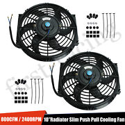2x 10 Electric Radiator Cooling Fan W/ Thermostat Relay And Mounting Kit Black
