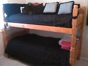 Pine Bunk Bed Light Brown - Like New - 2 New Mattresses Only 1 Year Old