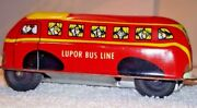 Vintage Original Lupor Toy School Bus Tin Friction Metal Products Inc. Ny