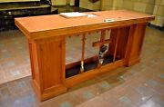 + Nice Older Wood Altar With Marble Altar Stone Relics Inside + Chalice Co.