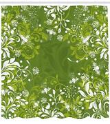 Green Shower Curtain Ambesonne Bathroom Decor Set With Hooks 4 Sizes Available