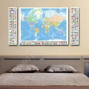 Political Modern Maps Flags 3 By World Map   Poster Or Wall Sticker Decal  