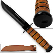 Reproduction Wwii Combat Usmc Kabar-style Fighting Knife With Leather Sheath