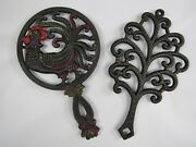 Vintage 50and039s Wilton Hand Painted R Rooster And Tree Cast Iron Footed Trivet