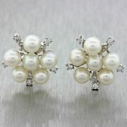 3500 Vintage 14k Solid White Gold 6.5mm Pearl Cluster .80ctw Diamond Earrings