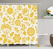 Yellow Flower Shower Curtain Fabric Bathroom Decor Set With Hooks 4 Sizes