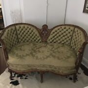 Antique French Sofa Settee/louis Style/ Hand Carved, Late 19 Century