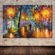 Large Hand Painted Lover Rain Street Tree Lamp Landscape Oil Painting On Canvas