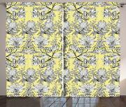 Grey And Yellow Curtains 2 Panel Set Decor 5 Sizes Available Window Drapes