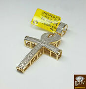 Brand New Menand039s 10k Yellow Gold Ankh Charm With Real Diamonds And 2 Inches Long.