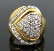 Vintage 0.60ct Diamond 18k White And Yellow Gold Heart Ring Size 4.25 - 4.5
