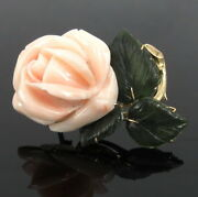 Vintage Coral And Jadeite Jade 14k Yellow Gold Hand Carved Floral Rose Pin Brooch
