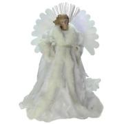 Lighted B/o 14 Lighted Color Fiber Optic Angel With Gown Christmas Tree Topper