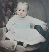 Beautiful Child. Museum Quality Tinted Tintype In Period Frame.